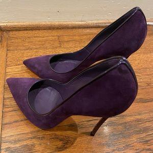 Purple Suede Casadei Pumps